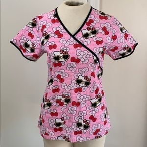 Hello Kitty pink sunglasses scrub top shirt fitted